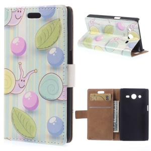 Lovely Snails Leather Wallet Cover for Samsung Galaxy Core 2 Dual SIM G355H - Blue Background