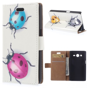 Colored Ladybugs for Samsung Galaxy Core 2 Dual SIM G355H PU Leather Flip Cover w/ Card Slots