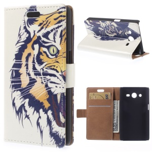 Angry Tiger for Samsung Galaxy Core 2 Dual SIM G355H Magnetic Flip Leather Cover Card Holder