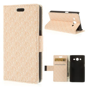 Maze Pattern Cloth Texture Leather Wallet Stand Cover for Samsung Galaxy Core 2 G355H - Beige