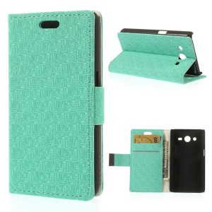 Maze Pattern Cloth Texture Leather Wallet Stand Shell for Samsung Galaxy Core 2 G355H - Cyan