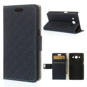 Maze Pattern Cloth Texture Leather Wallet Magnetic Case for Samsung Galaxy Core 2 G355H - Dark Blue