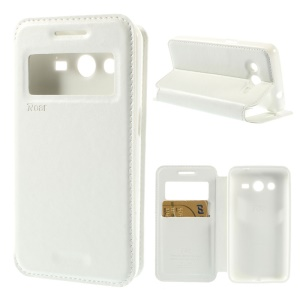 Roar Korea Window View Leather Stand Cover for Samsung Galaxy Core 2 G355H - White