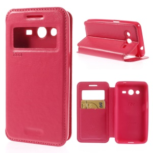 Roar Korea Window View Leather Case w/ Stand for Samsung Galaxy Core 2 G355H - Rose