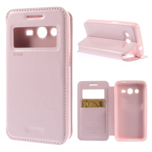 Roar Korea Window View Leather Cover w/ Stand for Samsung Galaxy Core 2 G355H - Pink