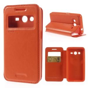 Roar Korea Window View Leather Card Holder Case for Samsung Galaxy Core 2 G355H - Orange