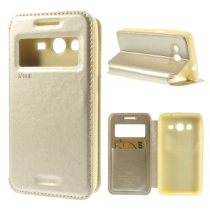 Roar Korea Window View Leather Card Holder Cover for Samsung Galaxy Core 2 G355H - Champagne