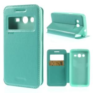 Roar Korea Window View PU Leather Stand Case for Samsung Galaxy Core 2 G355H - Cyan