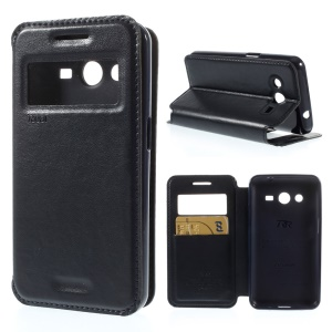 Roar Korea Window View PU Leather Stand Cover for Samsung Galaxy Core 2 G355H - Dark Blue