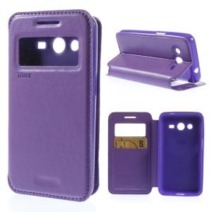 Roar Korea Window View Leather Case w/ Card Slot for Samsung Galaxy Core 2 G355H - Purple