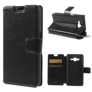 Crazy Horse Leather Magnetic Case w/ Stand for Samsung Galaxy Core 2 G355H - Black