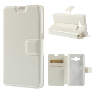 Crazy Horse Leather Magnetic Cover w/ Stand for Samsung Galaxy Core 2 G355H - White