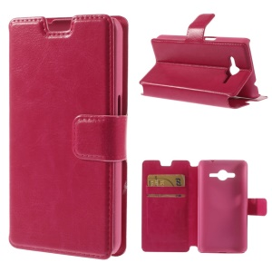 Crazy Horse Leather Stand Case w/ Card Slots for Samsung Galaxy Core 2 G355H - Rose