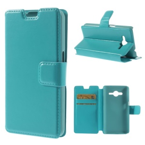 Crazy Horse Leather Stand Cover w/ Card Slots for Samsung Galaxy Core 2 G355H - Blue