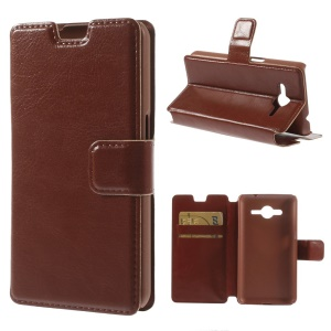 Crazy Horse Leather Card Holder Case for Samsung Galaxy Core 2 G355H - Brown