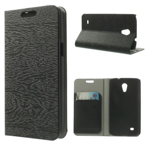 Tree Bark Grain Leather Card Holder Case for Samsung Galaxy Core Lite LTE G3586 - Black