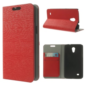 Tree Bark Grain Leather Card Holder Case for Samsung Galaxy Core Lite LTE G3586 - Red