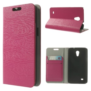 Tree Bark Grain Leather Card Holder Case for Samsung Galaxy Core Lite LTE G3586 - Rose