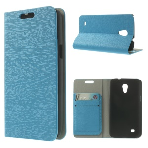 Tree Bark Grain Leather Card Holder Stand Cover for Samsung Galaxy Core Lite LTE G3586 - Blue