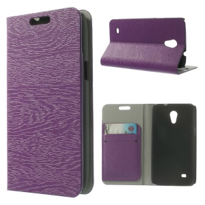 Tree Bark Grain Leather Card Holder Stand Cover for Samsung Galaxy Core Lite LTE G3586 - Purple