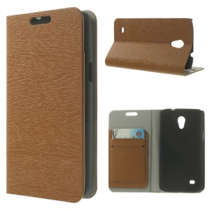 Tree Bark Grain Leather Card Holder Stand Cover for Samsung Galaxy Core Lite LTE G3586 - Brown