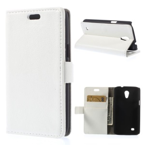 Litchi Grain PU Leather Card Holder Case for Samsung Galaxy Core Lite LTE G3586 - White
