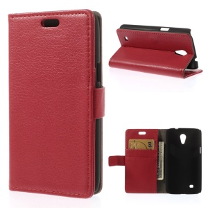 Litchi Grain Leather Flip Card Holder Case for Samsung Galaxy Core Lite LTE G3586 - Red
