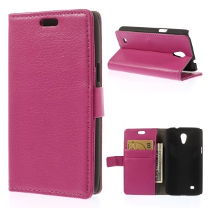 Litchi Grain PU Leather Wallet Stand Case for Samsung Galaxy Core Lite LTE G3586 - Rose