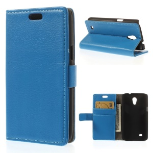 Litchi Grain Magnetic Flip Leather Cover for Samsung Galaxy Core Lite LTE G3586 - Blue