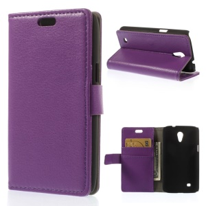 Litchi Grain Leather Cover w/ Card Slots for Samsung Galaxy Core Lite LTE G3586 - Purple