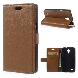 Litchi Grain Leather Case w/ Card Slots for Samsung Galaxy Core Lite LTE G3586 - Brown