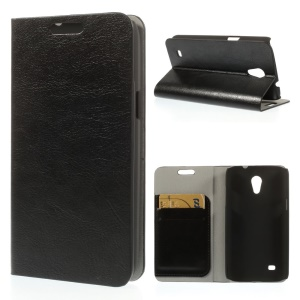 Black Crazy Horse Texture Leather Card Holder Case w/ Stand for Samsung Galaxy Core Lite LTE G3586