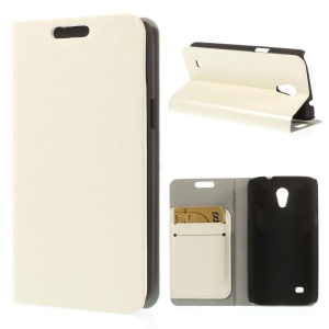 White Crazy Horse Texture Leather Card Holder Cover w/ Stand for Samsung Galaxy Core Lite LTE G3586