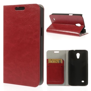 Red Crazy Horse Texture Leather Card Holder Shell w/ Stand for Samsung Galaxy Core Lite LTE G3586