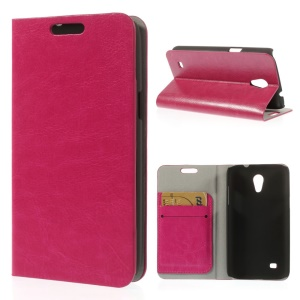 Rose Crazy Horse Texture Leather Shell w/ Stand & Card Slots for Samsung Galaxy Core Lite LTE G3586