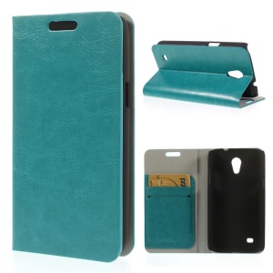 Blue Crazy Horse Texture Leather Case w/ Stand & Card Slots for Samsung Galaxy Core Lite LTE G3586