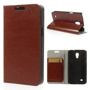 Brown Crazy Horse Texture Leather Cover w/ Stand & Card Slots for Samsung Galaxy Core Lite LTE G3586