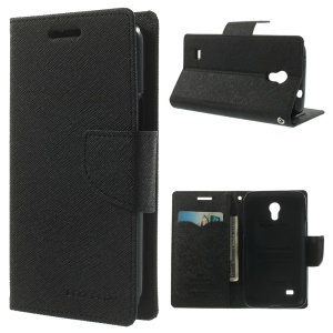 Mercury Fancy Diary Wallet Leather Stand Case for Samsung Galaxy Core Lite LTE G3586 - Black