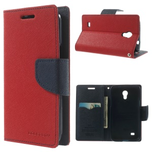 Mercury Fancy Diary Leather Magnetic Case w/ Stand for Samsung Galaxy Core Lite LTE G3586 - Red