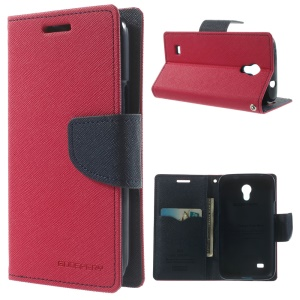 Mercury Fancy Diary Leather Magnetic Cover w/ Stand for Samsung Galaxy Core Lite LTE G3586 - Rose