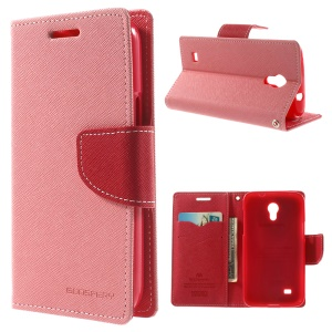 Mercury Fancy Diary Leather Stand Case w/ Card Slots for Samsung Galaxy Core Lite LTE G3586 - Pink