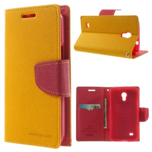 Mercury Fancy Diary Leather Stand Cover w/ Card Slots for Samsung Galaxy Core Lite LTE G3586 - Yellow