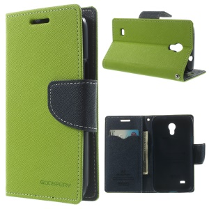 Mercury Fancy Diary Leather Card Holder Case Stand for Samsung Galaxy Core Lite LTE G3586 - Green