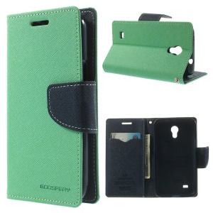 Mercury Fancy Diary Leather Card Holder Cover Stand for Samsung Galaxy Core Lite LTE G3586 - Cyan