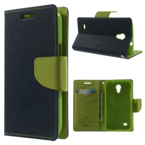 Mercury Fancy Diary Leather Stand Case for Samsung Galaxy Core Lite LTE G3586 - Dark Blue