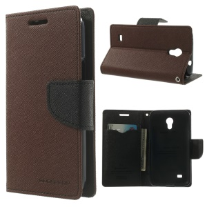 Mercury Fancy Diary Stand Leather Magnetic Case for Samsung Galaxy Core Lite LTE G3586 - Brown