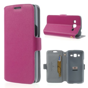 Rose Doormoon Genuine Leather Card Slot Case for Samsung Galaxy Win Pro G3812