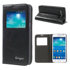 Black KAIYUE Caller ID View Window Flip Leather Case Stand for Samsung Galaxy Win Pro G3812