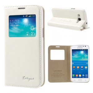 White KAIYUE Caller ID View Window Flip Leather Case Stand for Samsung Galaxy Win Pro G3812