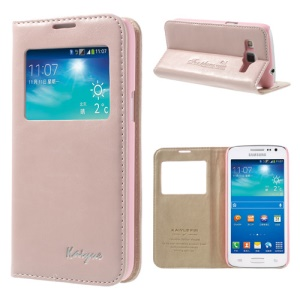 Pink KAIYUE Caller ID View Window Flip Leather Cover Stand for Samsung Galaxy Win Pro G3812